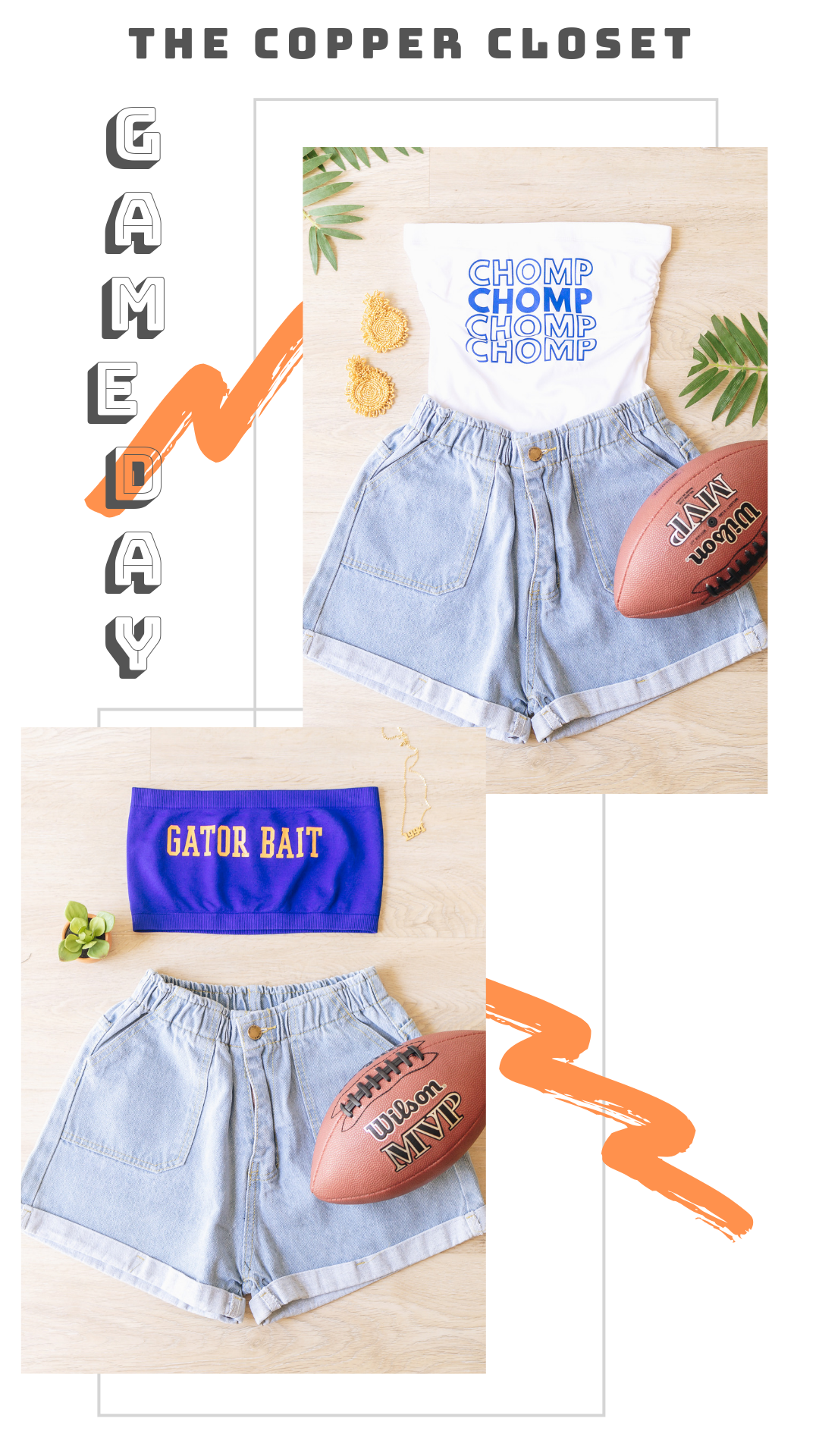 Blue White Gator Bait Tube Top Gameday Outfit College Tailgate Outfit Tailgate Outfit