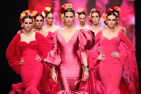 Models present creations by Vicky Martin Berrocal during the International Flamenco Fashion Show SIMOF in the Andalusian capital of Seville.