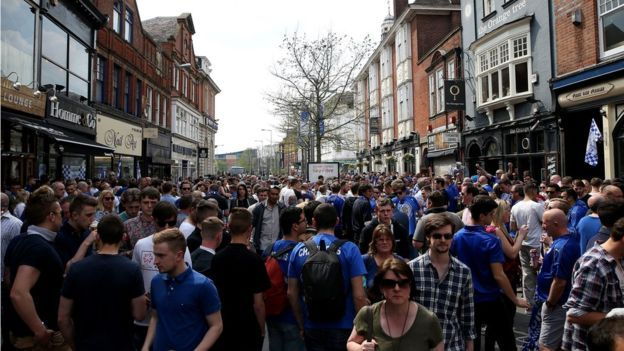 Leicester fans in the city centre