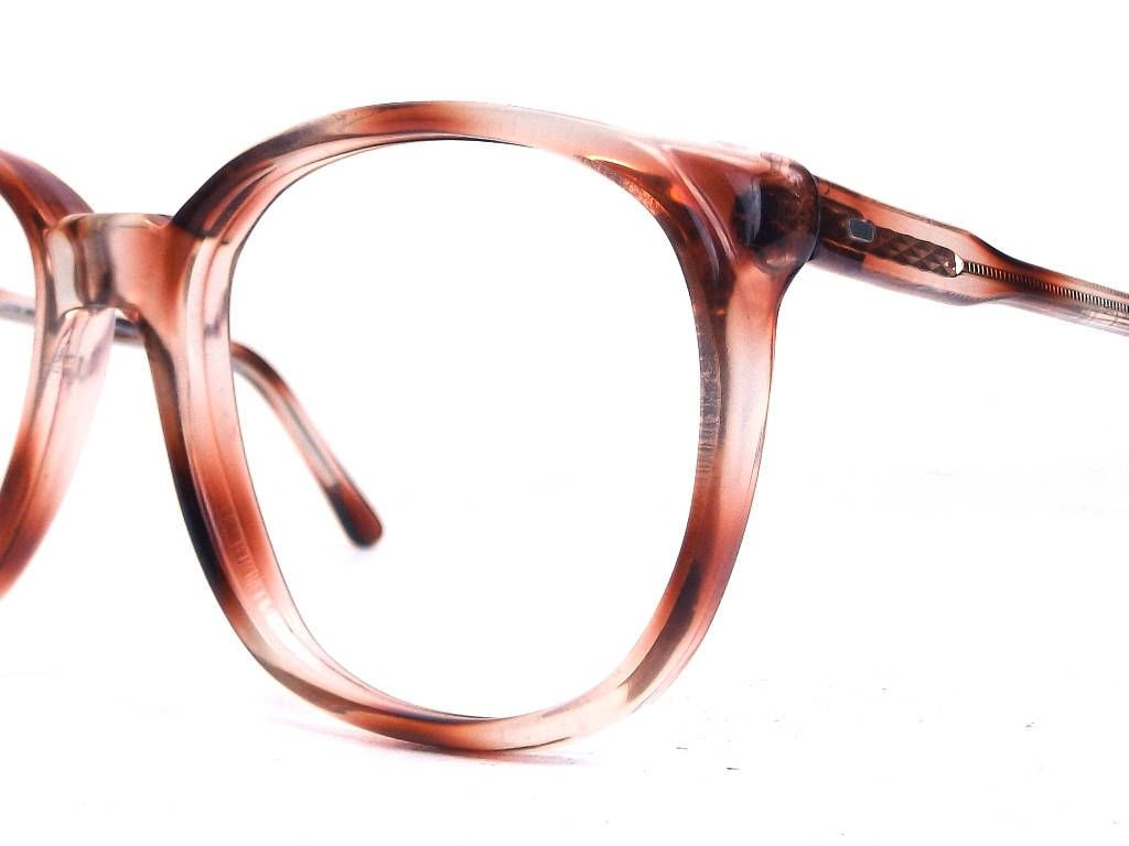 be7307881ad vintage 1980s deadstock round eyeglasses oversized frame women men eyewear  retro eye glasses new optical amber brown clear ombre stripe 252b by ...