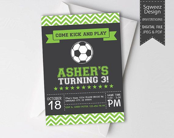 Soccer Invitation, Soccer birthday invitation, Soccer Party