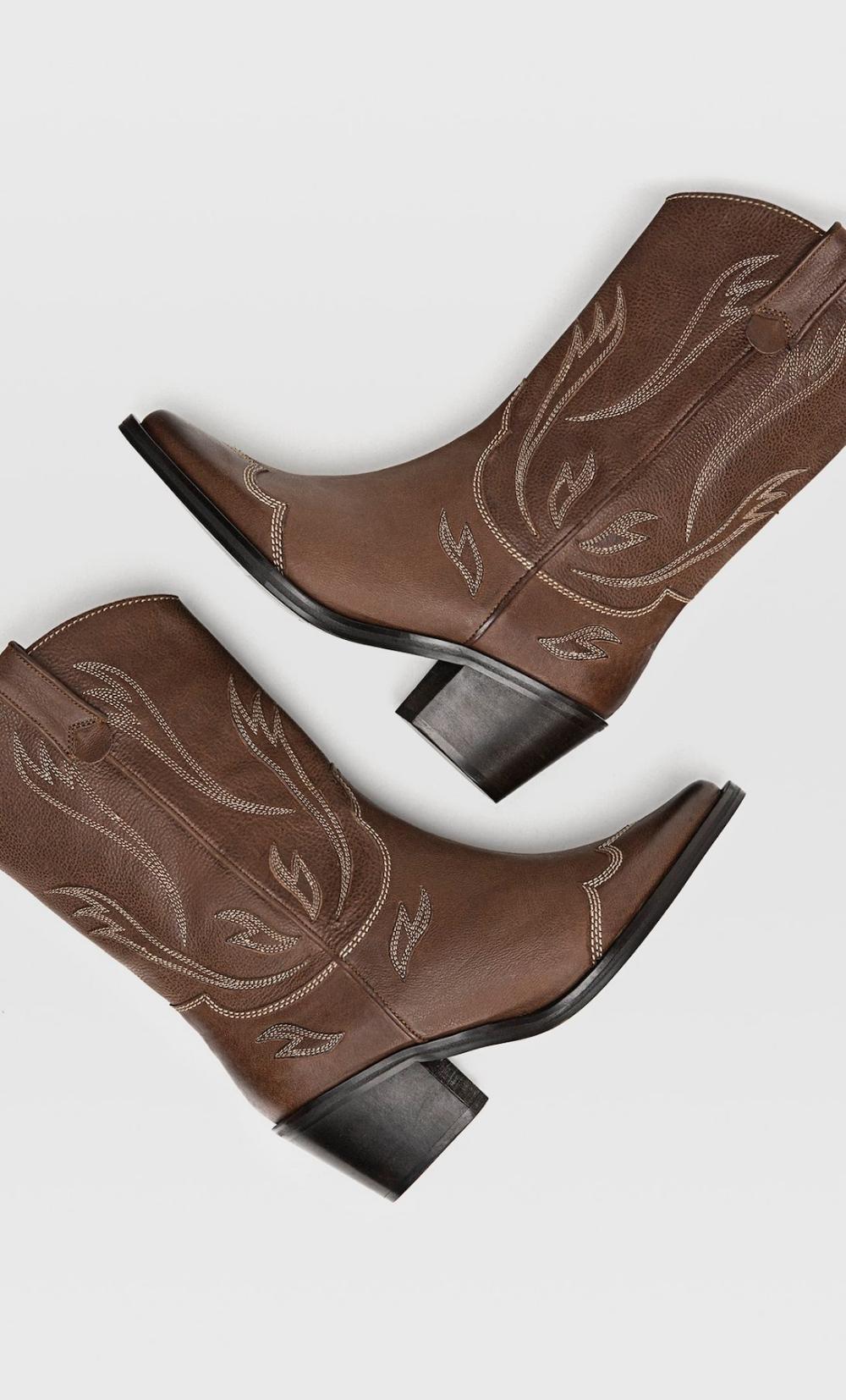 Brazowe Skorzane Kowbojki Null Stradivarius Polska Boots Cowboy Boots Leather Cowboy Boots