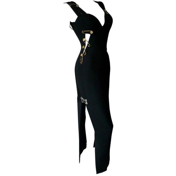 Preowned Museum Quality Gianni Versace Punk Safety Pin Evening Gown... ($39,000) ❤ liked on Polyvore featuring multiple and versace