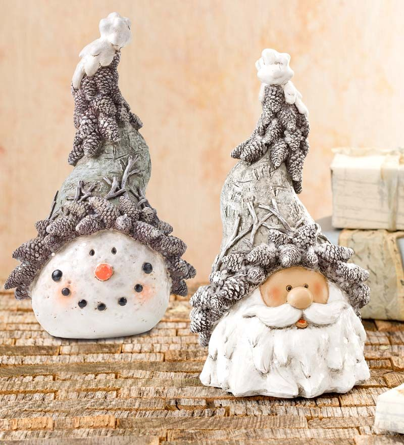 Glittering Woodland Snowman Or Santa Head Statue In Indoor Holiday Decorations In 2020 Indoor Holiday Decor Christmas Decor Diy Santa Head