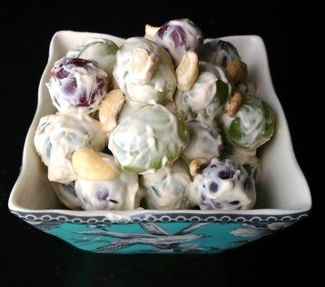 Creamy Paleo Grape & Nut Fruit Salad with Coconut Milk Dressing (tastes like sour cream?)