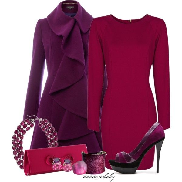 A fashion look from October 2012 featuring long sleeve dresses, purple coat and platform shoes. Browse and shop related looks.