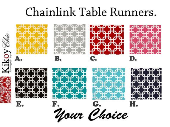 "Chainlink Table Runner-Gotcha Table Runner.Gotcha Table Cloth- 12"" x 60"" or 12"" x 72"" or 12"" x 108 on Etsy, $18.00"