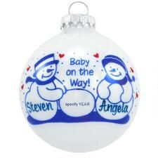 Personalized Baby On The Way With Snowmen Glass Ornament