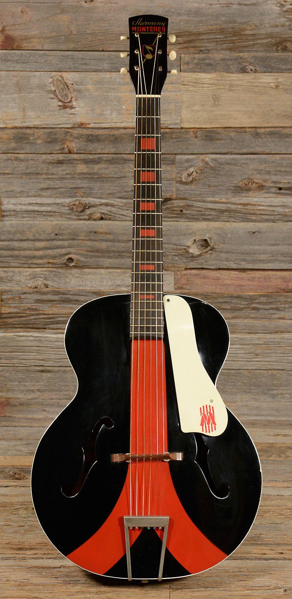 Digging this HARMONY Monterey Colorama Archtop Black/Red 1958 (s952) http://www.guitarandmusicinstitute.com