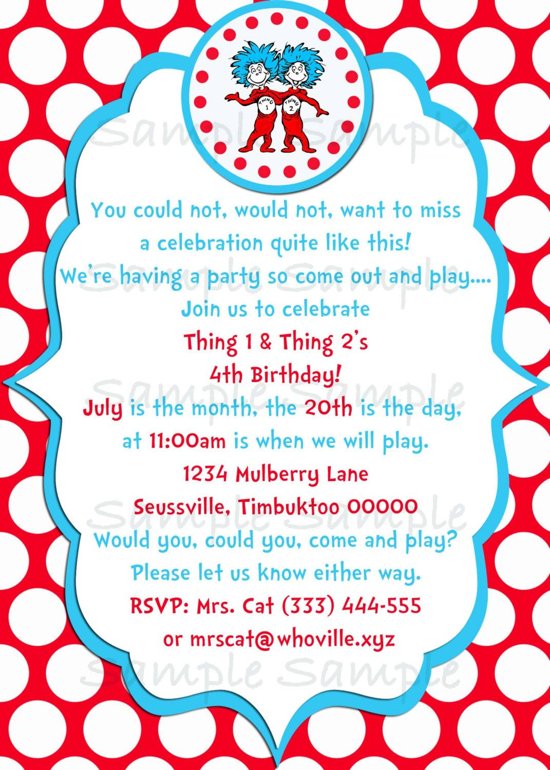 Seuss Thing 1 2 Birthday Party Invitation Printable 500 Via Etsy