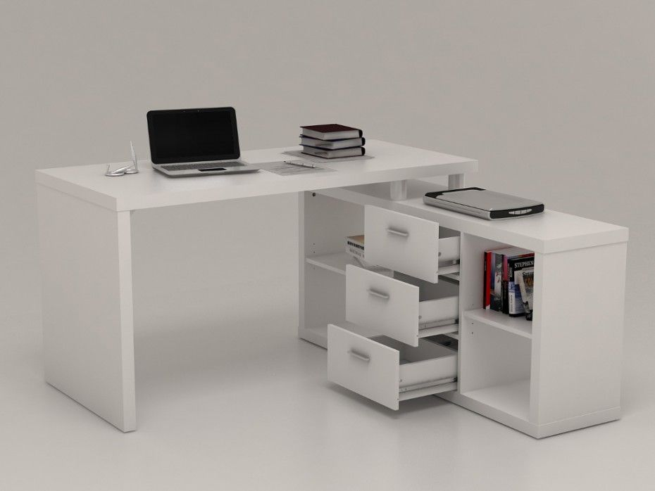 Bureau D Angle Avec Rangements Aldric Iii Blanc Bureau Angle Bureau Blanc Laque Et Bureau Blanc
