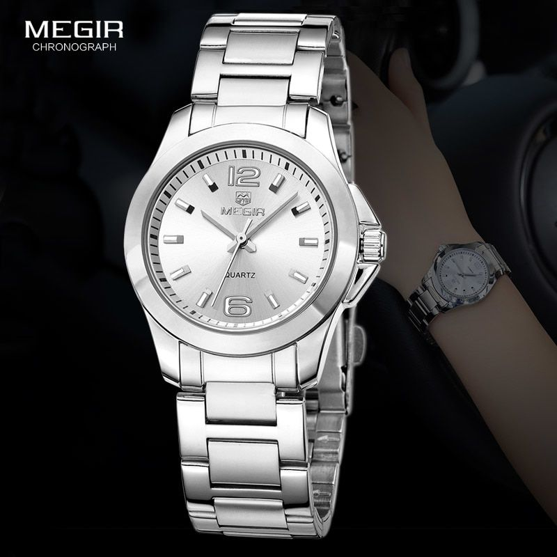d72bfc2bf2c Hot Offer MEGIR Women s Simple Round Dial Quartz Watches Stainless Steel  Waterproof Wristwatch for woman MS5006L