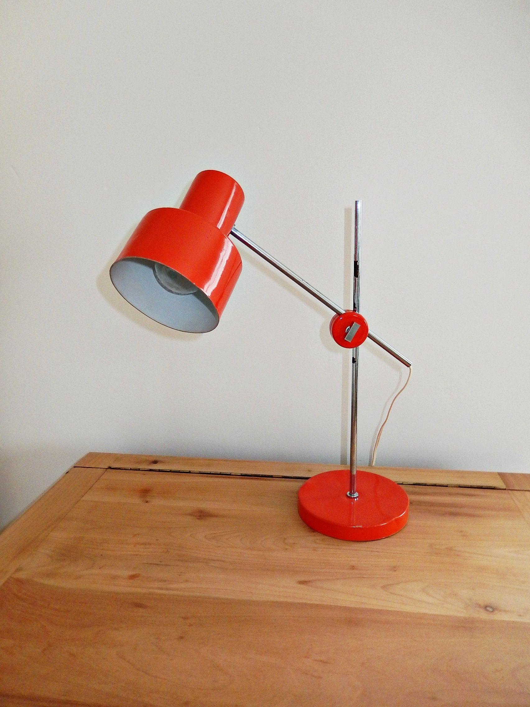 Lampe Jan Suchan Elektrosvit Orange Lampe De Bureau Industrielle Vintage Annees 1960 In 2020 Vintage Decor Desk Lamp Lamp