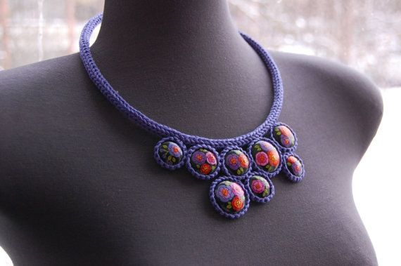 Purple necklace with flowers by fineDollyLolly on Etsy, $38.00