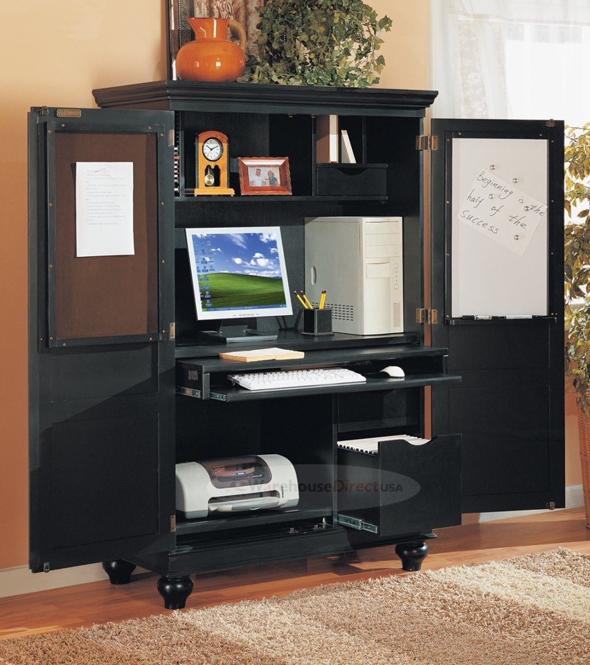 Charmant Antique Black #Computer Armoire Home Office Work Wing Station. Traditional  Styled Armoire In Black