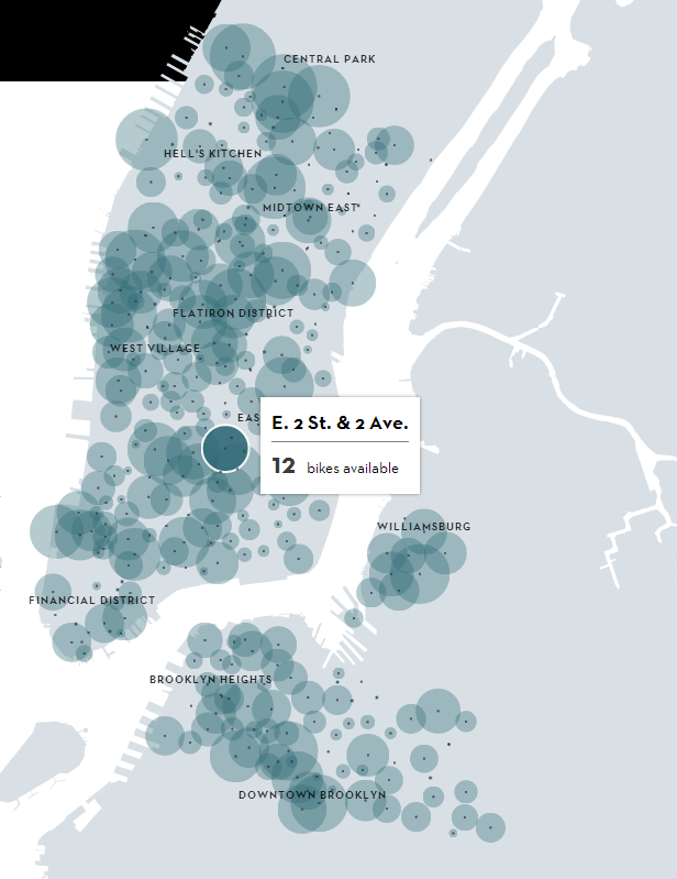 Bubble Chart Map A Month Of Citi Bike In New York  Interactive