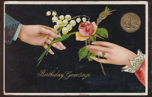 Beautiful Man & Lady's Hands & Flowers Antique Greeting Postcard-bbb778