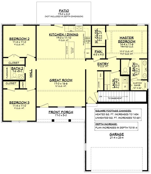 Farmhouse Style House Plan - 3 Beds 2 Baths 1416 Sq/Ft Plan #430-209 - Houseplans.com