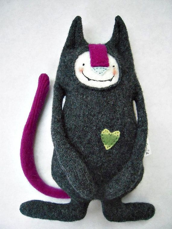 Stuffed Animal Cat from Upcycled Wool Sweater by sweetpoppycat
