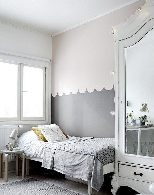 wand-streichen-muster-ideen-kinderzimmer-skandinavisch-muschel - ideen für schlafzimmer streichen