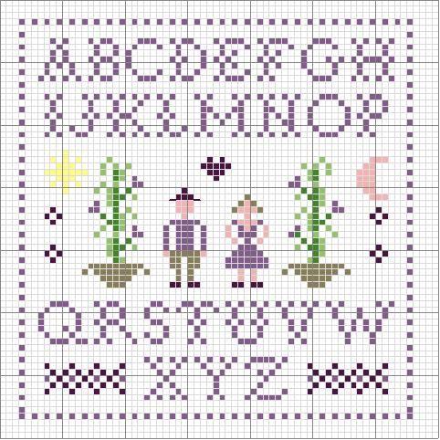 Semplice alfabeto lettere punto croce colore viola for Lettere a punto croce schemi