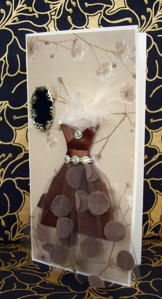 Romantique Personalised Dress Card / Handmade Greeting by BSylvar, $12.00