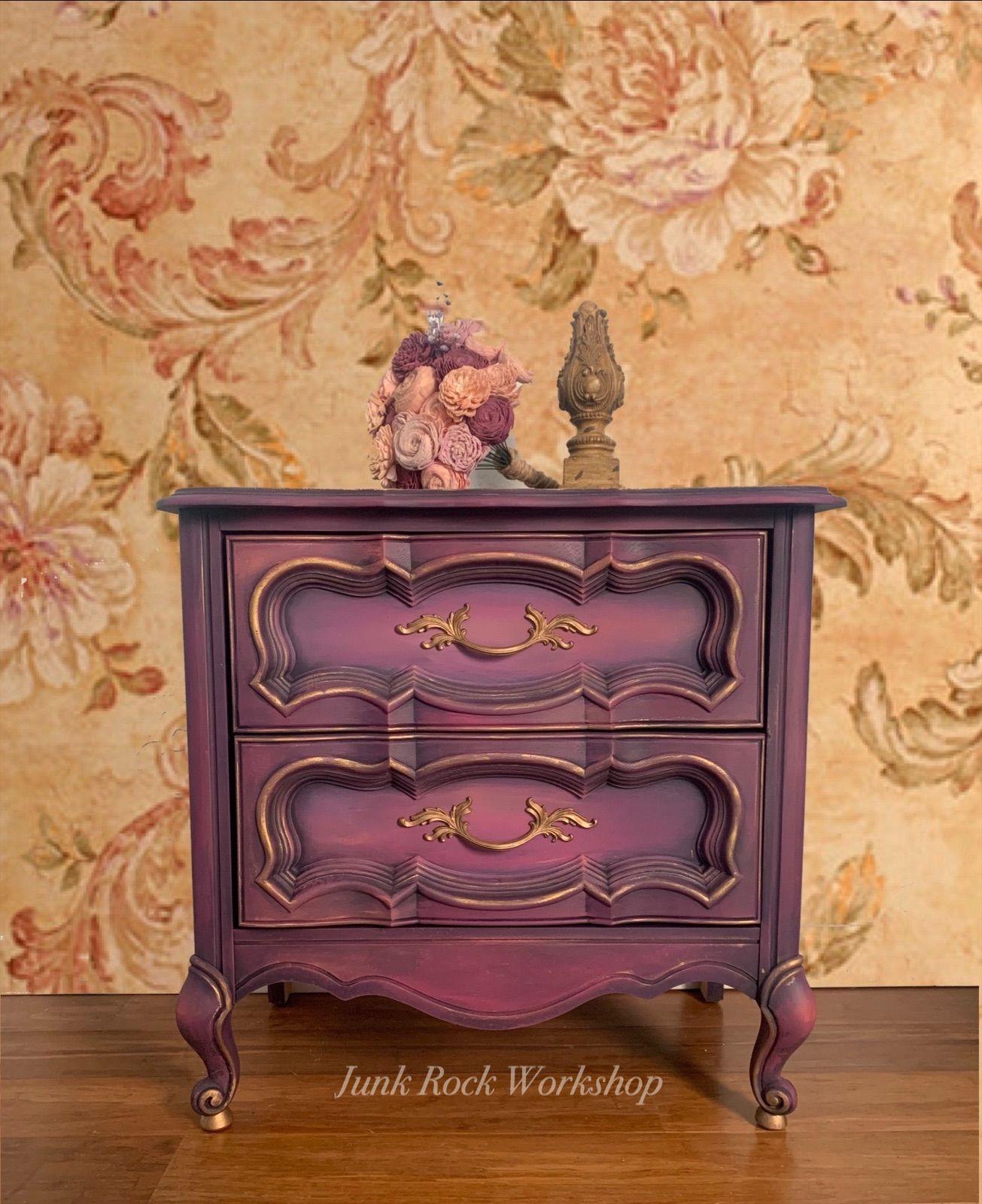 Purple blended nightstand in 2020   Purple dresser ...