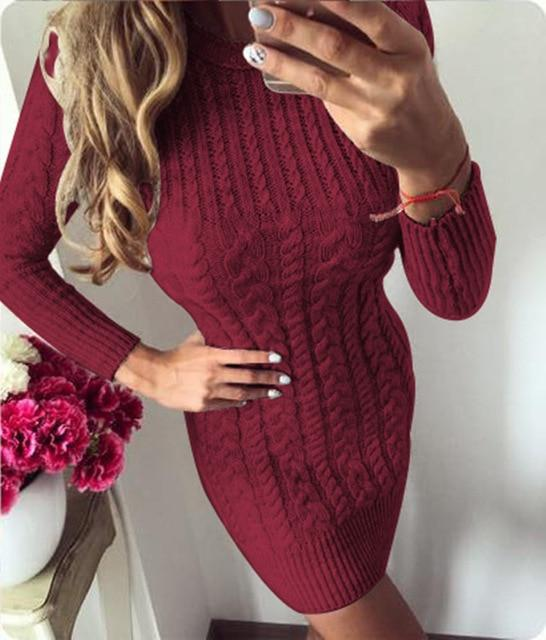 Womens Ladies Autumn Winter Knit Casual Long Sleeve Sweater Slim BodyCon Dress