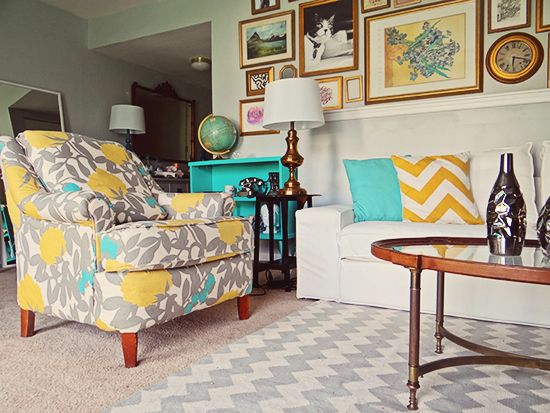 Elegant Turquoise Yellow And Gray Living Room + Thomas Paul Hedge Fabric + Chevron  Rug Designpardeux Http Part 27
