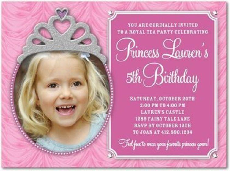 5th Birthday Tea Party Invitation Wording