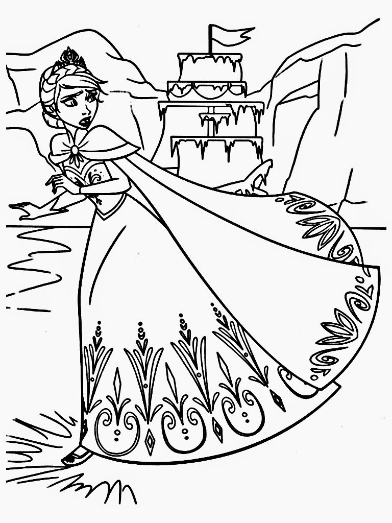 Download Free Frozen Coloring Pages Elsa Ice Castle