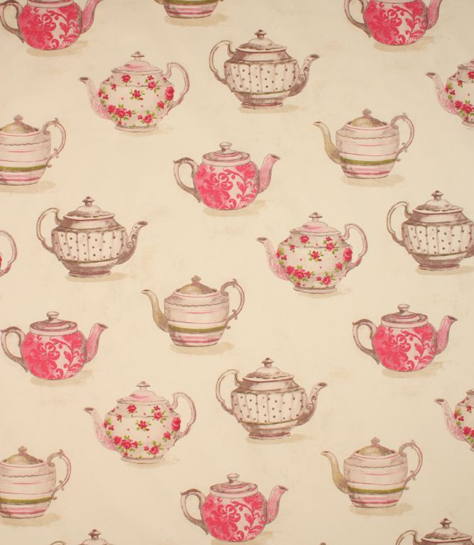 pretty pink teapots are printed onto this fabric made from. Black Bedroom Furniture Sets. Home Design Ideas
