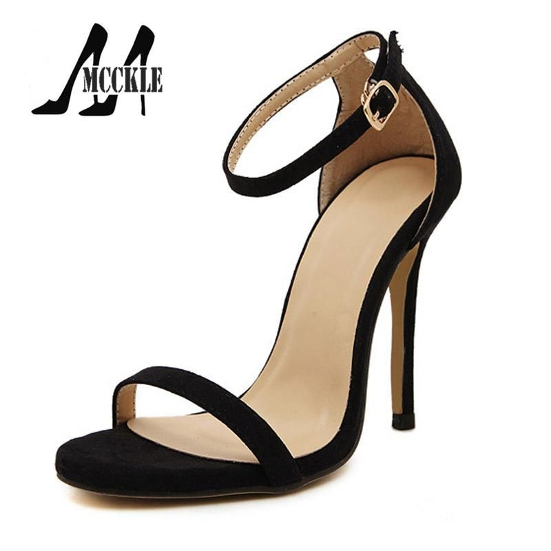 177886f2192c 2016 New Hot Summer Sandals Women Shoes High-Heeled Ankle Strap PU+Suede  Party