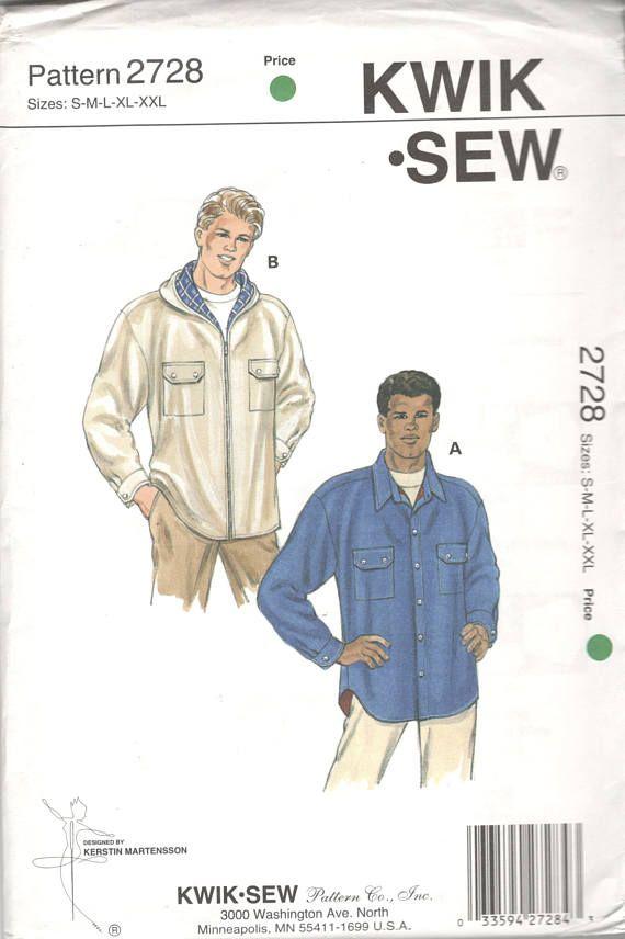 Kwik Sew 2728 Mens Lined Shirt Jacket Pattern Shirttail Hem Hoodie ...