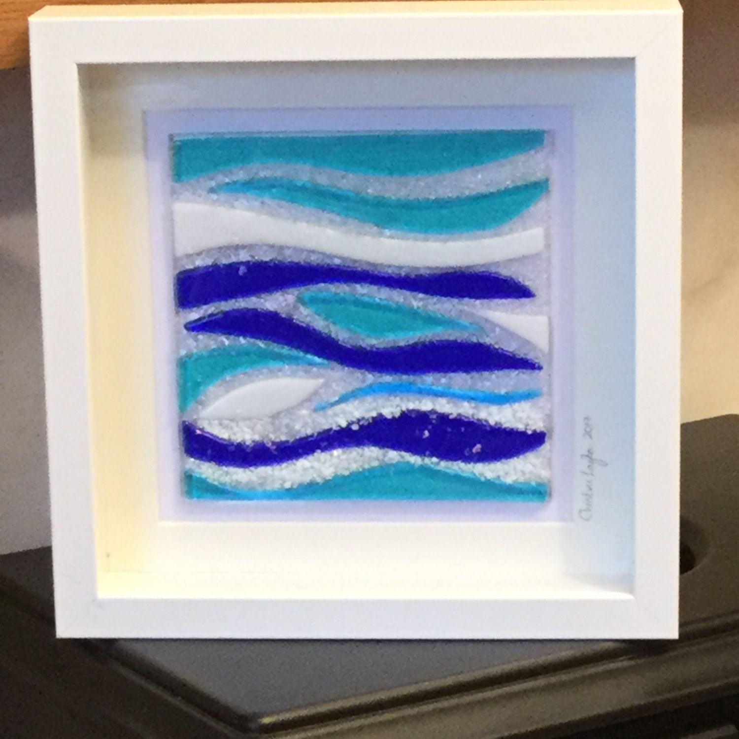Glass Seascape Wall Hanging Abstract Sea Inspired Glass Art Home decor Wall Art & Glass Seascape Wall Hanging Abstract Sea Inspired Glass Art Home ...