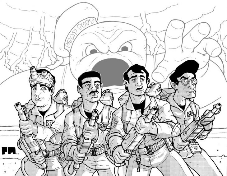 Ghostbusters With The Scary Stay Puft Marshmallow Man Coloring Page