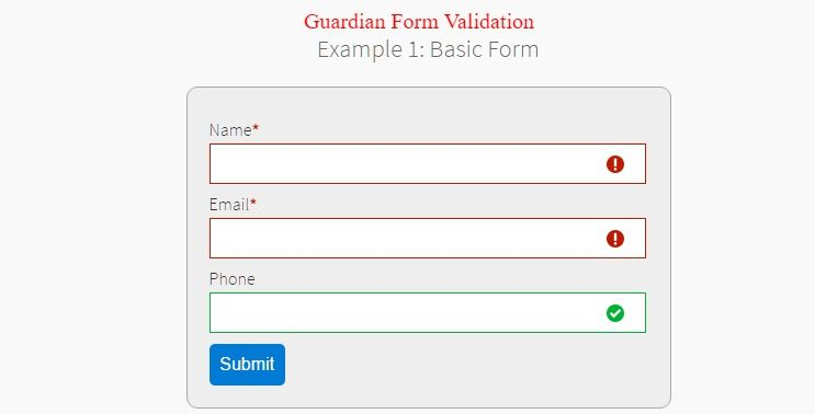 Guardian Jquery Form Validation Plugin Awesome Jquery Plugins