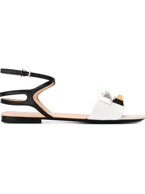 0035ee16a6eec FENDI Embellished Flat Sandals.  fendi  shoes  flat  sandal  leather  peep  toe  crystal  flats  sandals