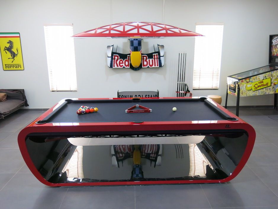The Blacklight Pool Table In Ferrari Red With The Matching Lights Is An  Statement In Design