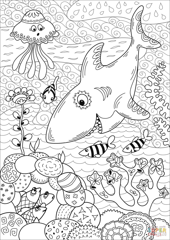 Shark Coloring Pages – coloring.rocks! | Shark coloring pages, Coral reef  drawing, Super coloring pages