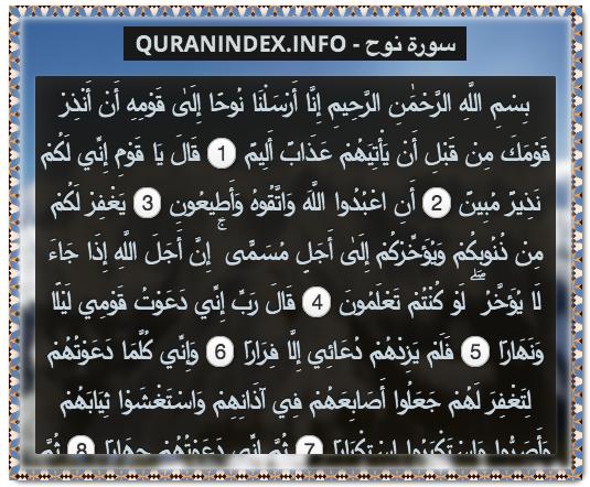 71 Surah Nooh سورة نوح Quran Index Search Holy Quran Quran Verses Quran