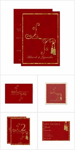 Red and Gold Tassel Indian Wedding