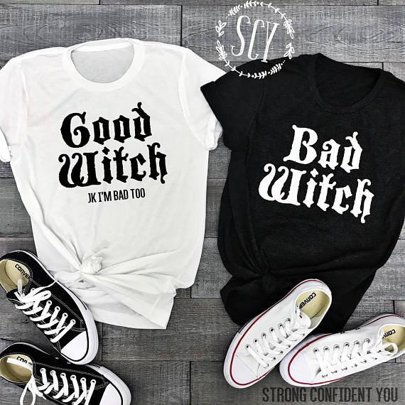 Good Witch Bad Witch Friend Shirts - Halloween Shirts - Halloween ...