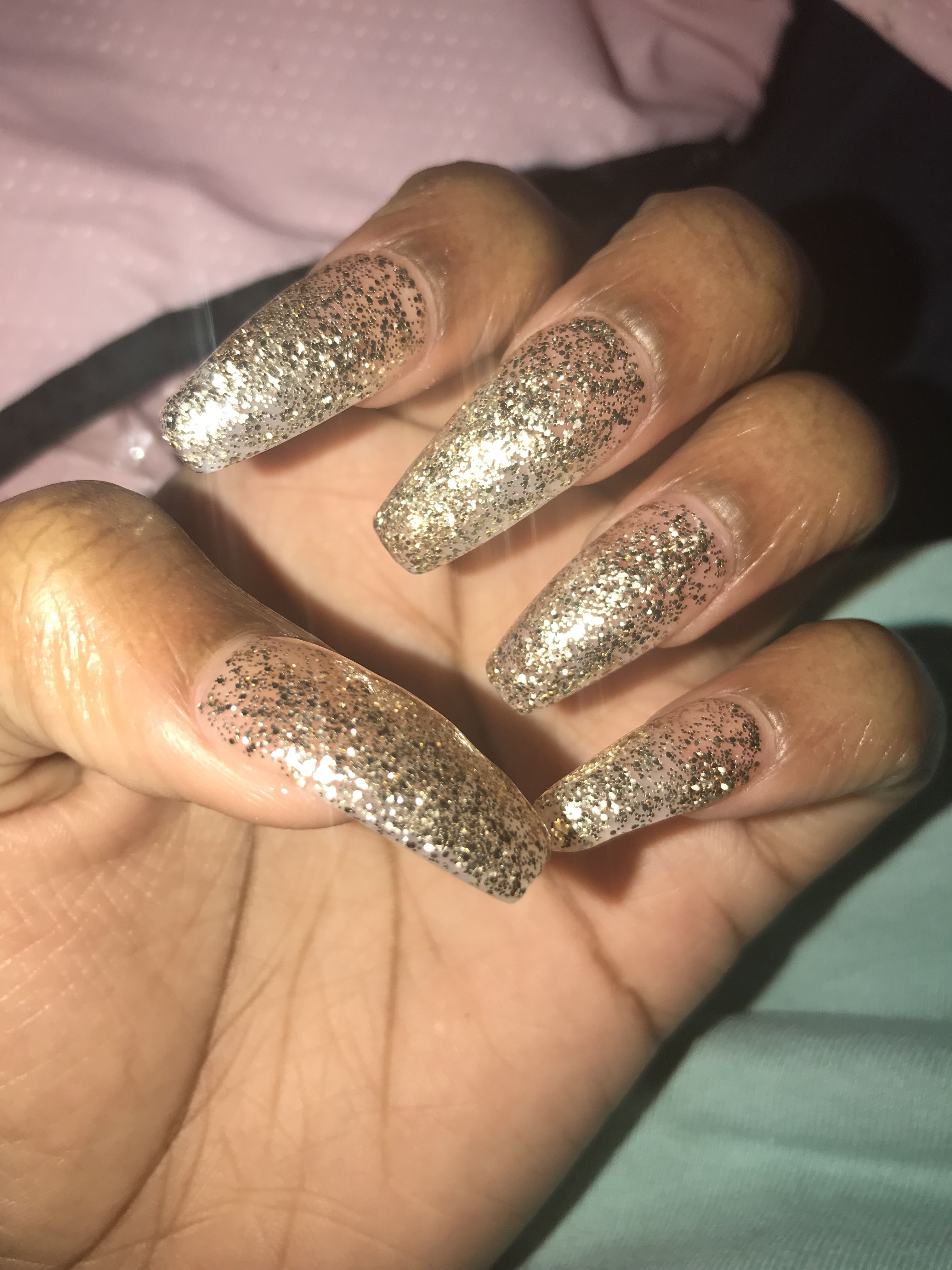 Gold Glitter Acrylic Nails Coffin Shape Coffin Shape Nails Nails Acrylic Nails