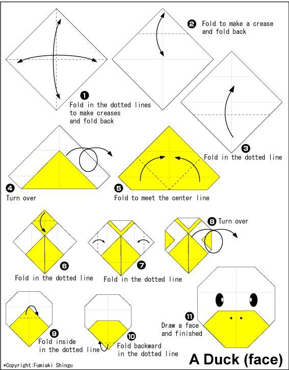 Duck Face Easy Origami Instructions For Kids Origamii Rh Com Flowers Beginners Very