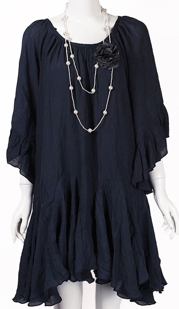 a50fded131f NEW-DRESS XL SOLID NAVY BLUE 3/4 SLEEVE BOHO PLUS SIZE TUNIC/TOP/SHIRT BABY  DOLL #LADYNOIZ #Tunic #Casual