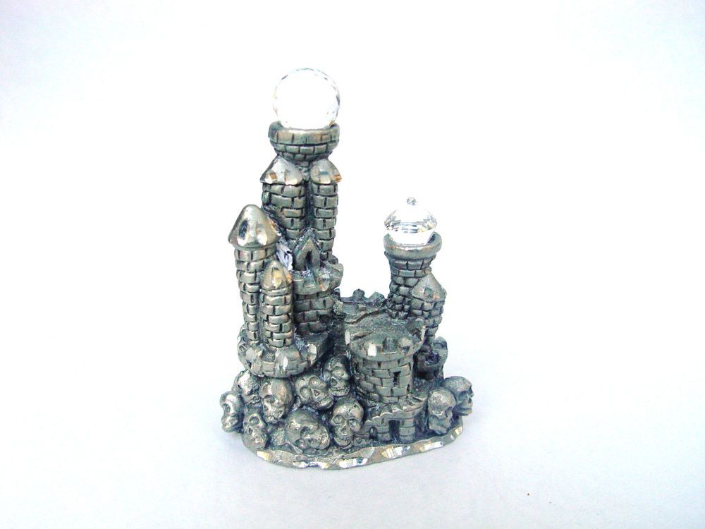 MINIATURE PEWTER SPOONTIQUES HM1721-CASTLE WITH CRYSTALS