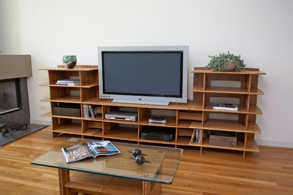 Shelving living room tv stand and shelving system by for Furniture of america torena