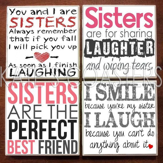 Set of 4 sister quotes ceramic tile coasters | Best friends ...