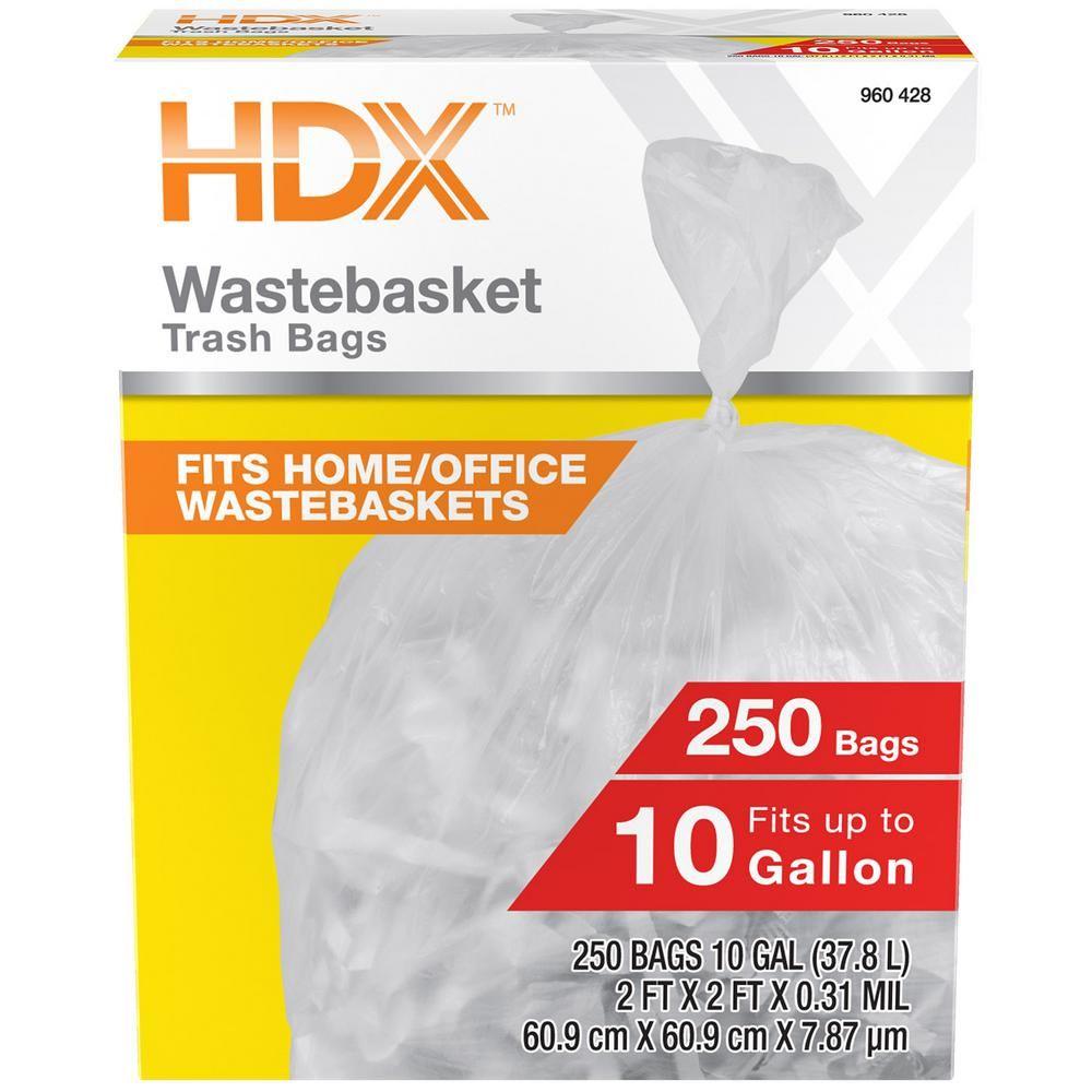 Hdx 10 Gal High Density Waste Basket Liner 250 Count Clear Waste Basket Trash Bags Basket Liners